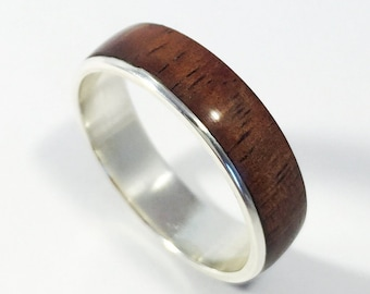 Mens wood wedding band, wood ring, wood wedding ring, mens wood wedding band, wooden ring, womens wood ring, asymmetric Koa ring, asymmetric