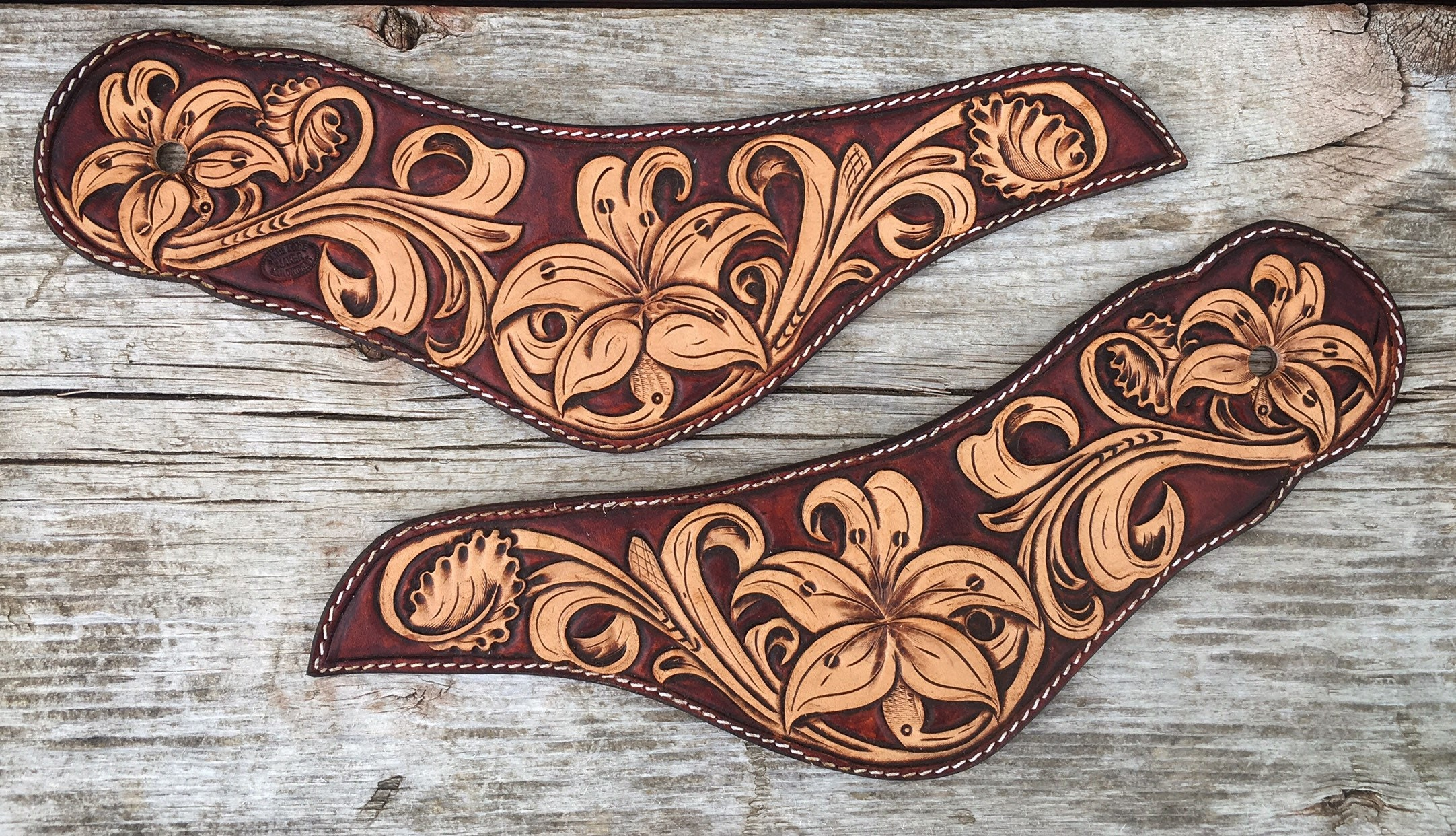 Custom Hand Tooled Leather Dove Wing Floral Lily Spur Straps