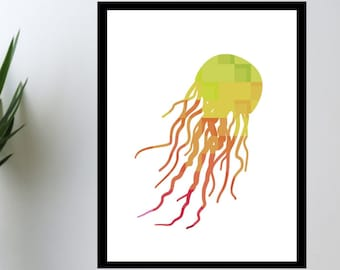 WATERCOLOR- Jellyfish -Digital Wall Art- Sea Themed Designs