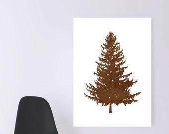 WATERCOLOR- Beige  Pine Tree -Digital Wall Art