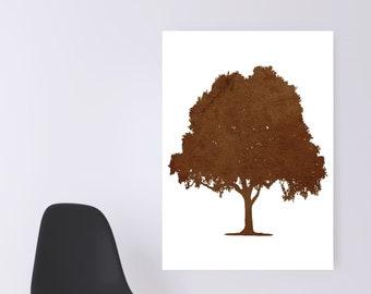 WATERCOLOR- Beige  Oak Tree -Digital Wall Art