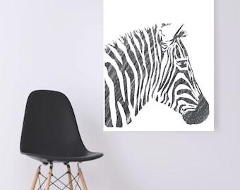 WATERCOLOR- Pencil Grey Zebra- Digital Wall Art