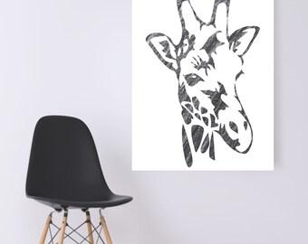 WATERCOLOR- Pencil Grey Giraffe- Digital Wall Art
