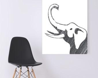 WATERCOLOR- Pencil Grey Elephant- Digital Wall Art