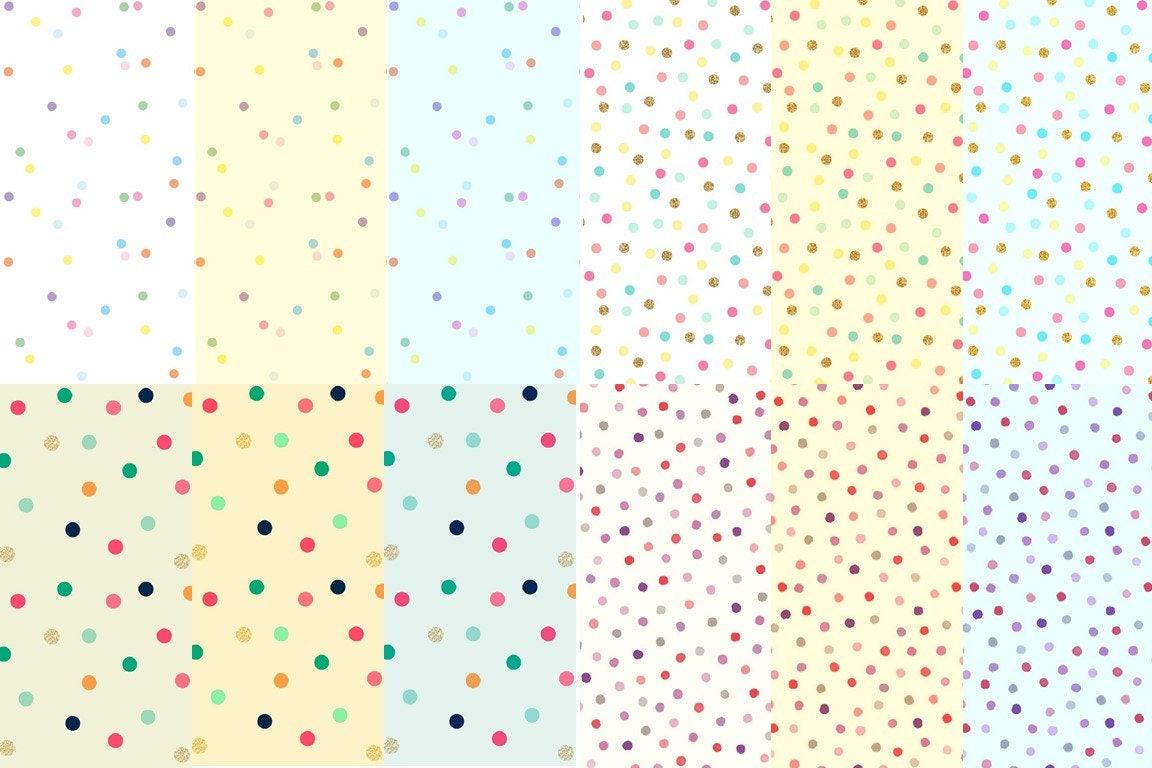 Confeti Digital papel Pack partido puntos lunares patrones | Etsy