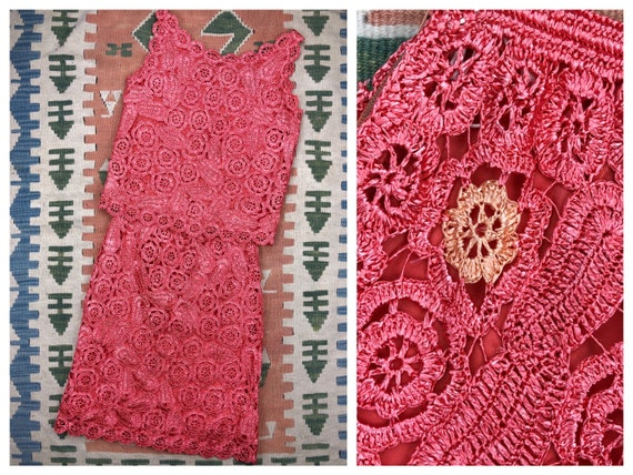 Early 60s woven coral pink paisley raffia skirt &