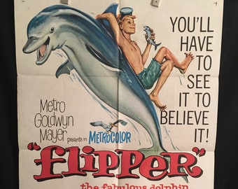 Original 1963 Flipper One Sheet Movie Poster, Kids, Dolphin, Chuck Conners, Luke Halpin