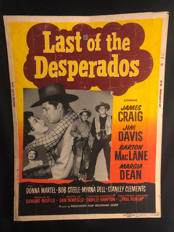 Original 1956 Last Of The Desperados 30x40 Movie Poster James Etsy