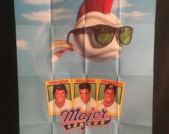 Original 1989 Major League One Sheet Movie Poster, Charlie Sheen, Tom Berenger Corbin Bernsen Wesley Snipes Baseball, MLB, Cleveland Indians