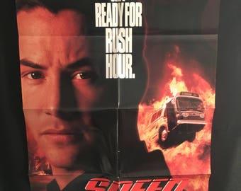 Original 1994 Speed Double Sided Advance One Sheet Movie Poster Keanu Reeves, Sandra Bullock, Dennis Hopper, Bus