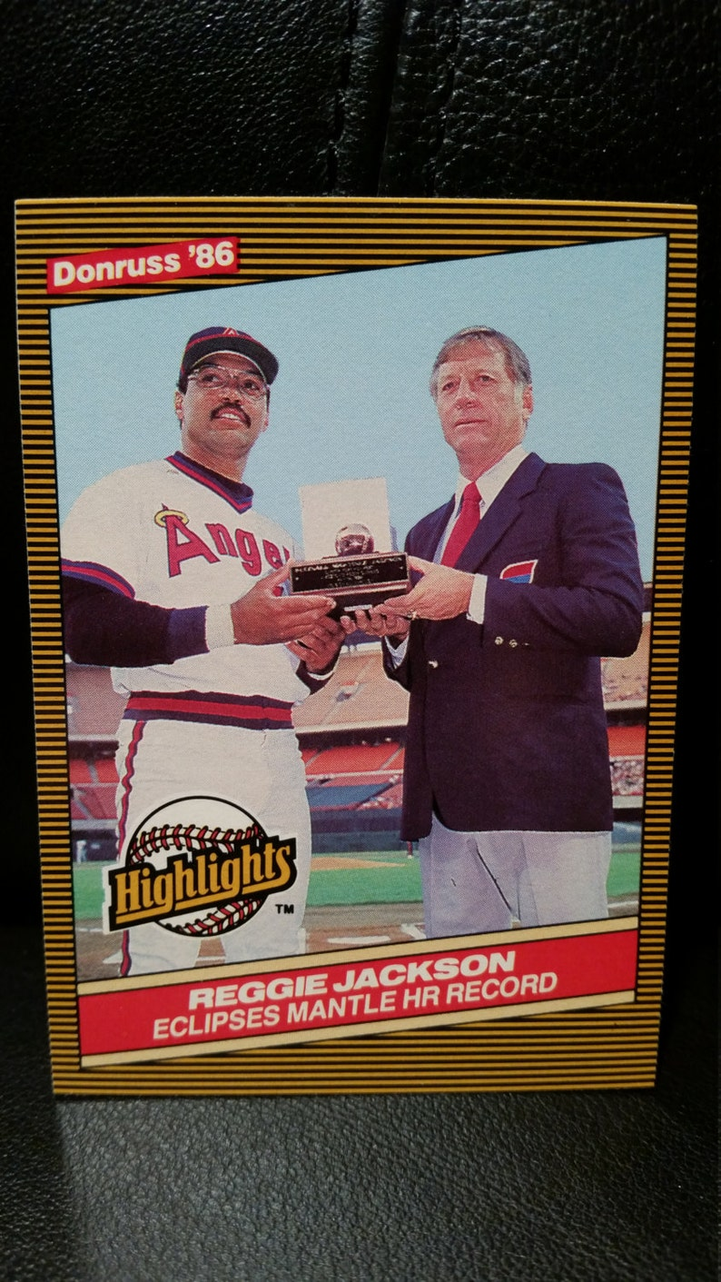 Reggie Jackson Mickey Mantle 1986 Donruss Baseball Card Home Run Highlight California Angles New York Yankees 10