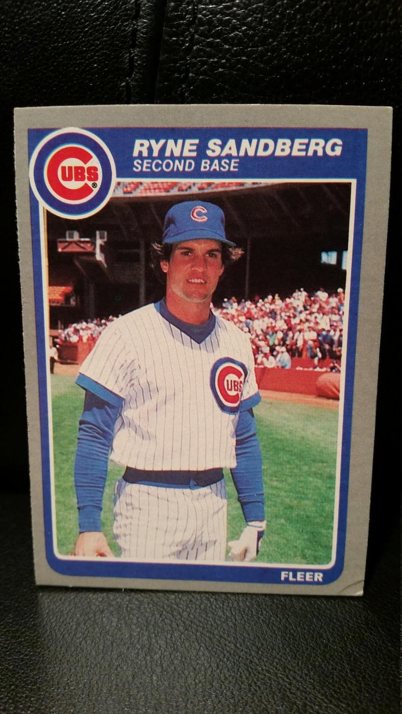 Ryne Sandberg 1985 Fleer Baseball Card 65 Chicago Cubs Hof