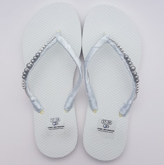 0acb808867910 Bridal Flip Flops Silver Wedding Shoe Wedding Flip Flops