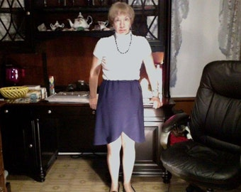 Navy blue cotton, Hi Low skirt, size medium, elastic waistline.