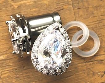 00g 0g 2g 4g 6g 8g 10g 12g - 1 PAIR Cubic Zirconia Silver Vintage Inspired Plugs Gauges Tunnels Wedding Bridesmaid