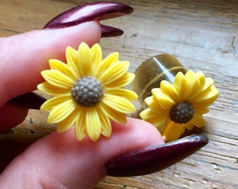 5/8 9/16 1/2 00g 0g 2g 4g 6g 8g 10g 12g 22mm Sunflower Plugs Wedding Plugs Bridal Jewelry Bridesmaids Formal Wear Special Occasion