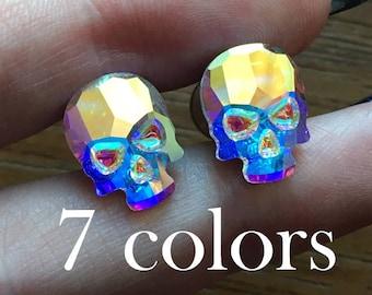 1/2 7/16 00g 0g 2g 4g 6g 8g 10g 12g 1 PAIR Swarovski Skull Plugs Gauges Tunnels Stud Earrings Bridal Wedding Formal Halloween Aurora