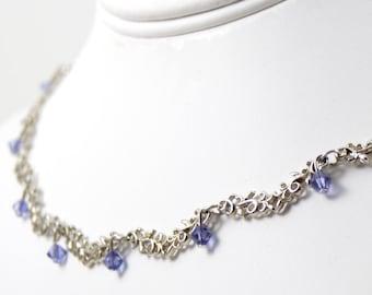 Worn by Violet The Vampire Diaries S8E9 Silver Rhodium Tanzanite Necklace Made W Swarovski Elements Adjustable Wedding Bridal Bridesmaid