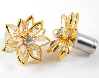 3/4 5/8 9/16 1/2 7/16 00g 0g 2g 4g 6g 8g 10g 12g 1 PAIR Clear Gold Vintage Swarovski Elements Rhinestone Flower Plugs Gauges Tunnels Wedding