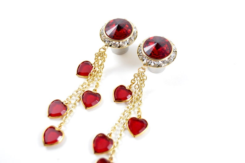 5/8 9/16 1/2 7/16 00g 0g 1 PAIR Queen of Hearts Gold Dangle image 0