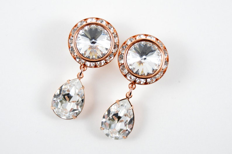 5/8 9/16 1/2 1 PAIR Rose Gold Clear Crystal Dangle Hanging Ear image 0