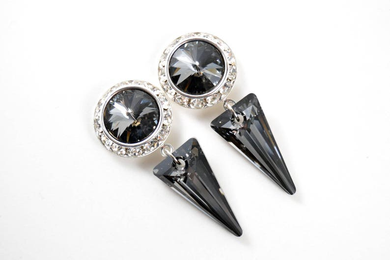 5/8 9/16 1/2 1 PAIR Silver Crystal Night Spike Silver Ear image 0