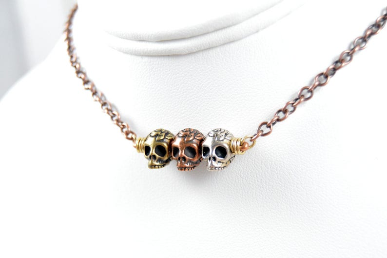 Princess of Bones Skull Brass Necklace 18  Wedding image 0