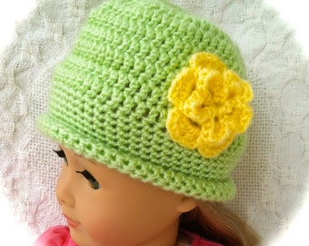 Doll hat/Mint green with yellow flower/Hand crocheted. Ready to ship