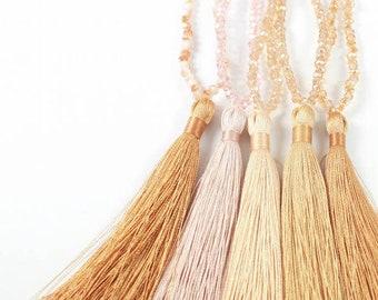 Crystal long tassel necklace,bridesmaid gift,sparkling tassel necklace,