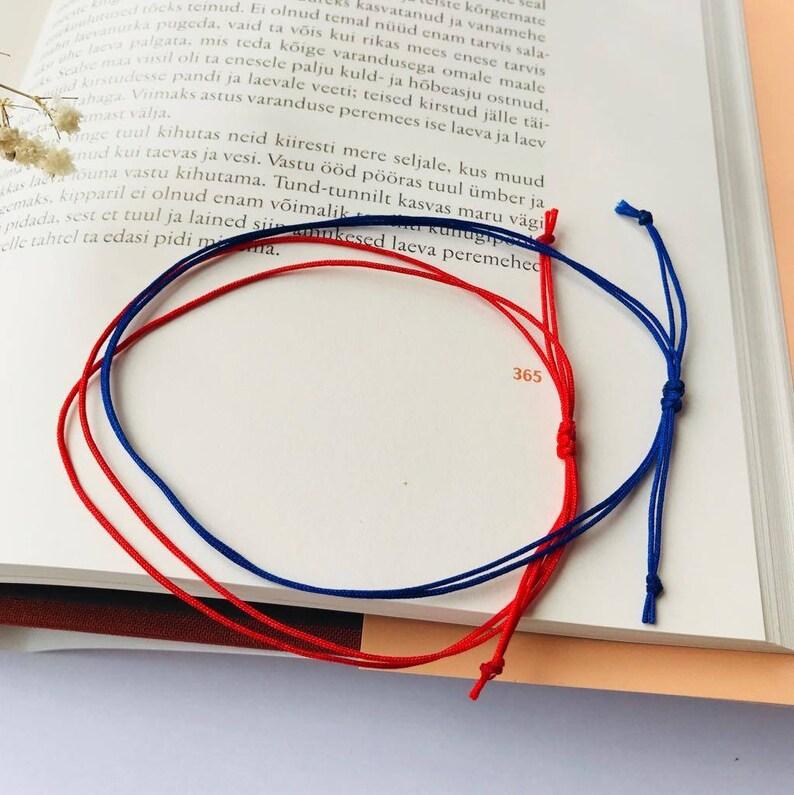 string bracelet waterproof long distance bracelets Red and blue string couples bracelet set of 2 his and hers surfer bracelet set