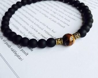 Mens beaded tiger eye bracelet, matte onyx bracelet with tiger eye, mens jewelry, bracelets for men