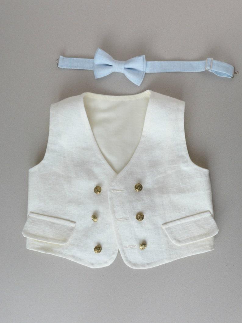 9c8aa2d2c0 Ivory Boy s Linen Vest Toddler White Navy style Linen