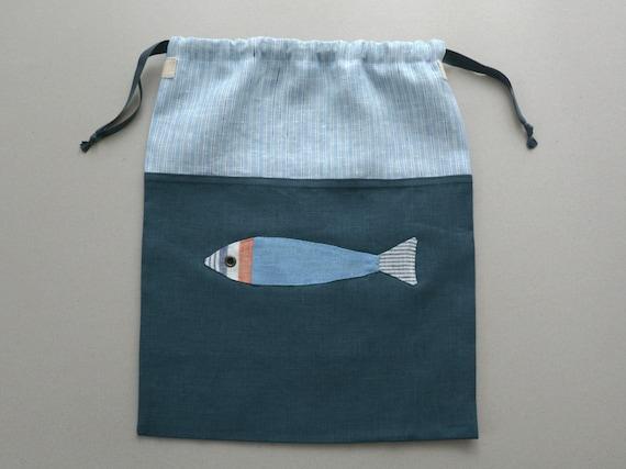 Enfant en bas âge voyage sous-vêtements cordon - Cordon lin nautique du garçon voyage sac à linge - garçon cadeau avec des poissons - maillots de bain sac sac