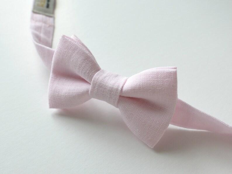 Blush Pink Boy/'s Bowtie Pale Pink  Ring Bearer Linen Bow Tie Blush Wedding Bowties Festive Boy/'s Outfit