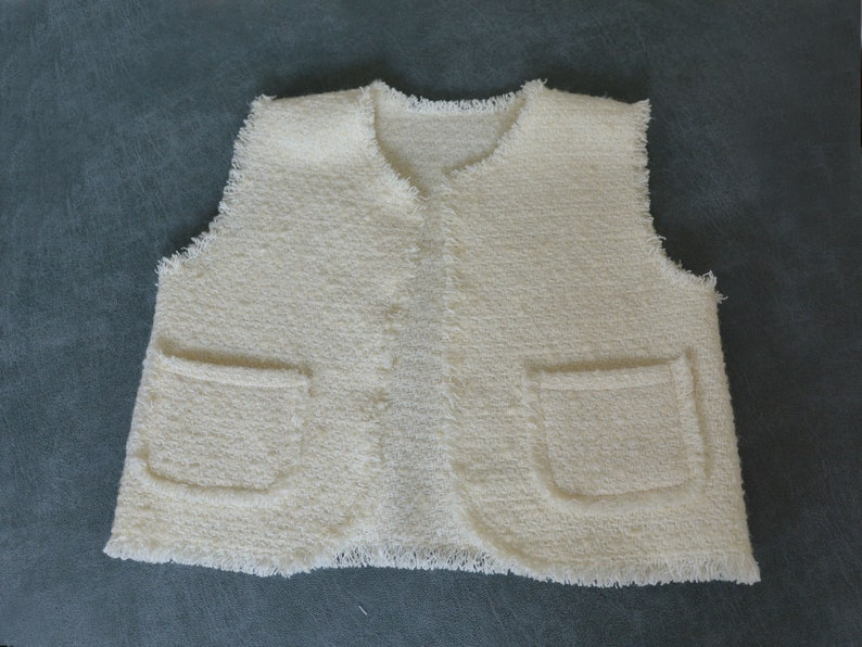 Girl Baptism outfit 3-5 Years Girl Vest Festive girl Outfit White Wool boucle tweed Girl Vest