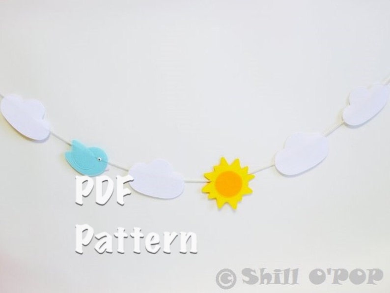 Spring Felt Clouds and Sun Garland PDF Pattern  And Free How image 0
