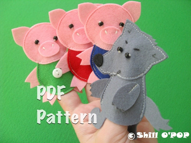 The Three Little Pigs Felt Finger Puppet Toys PDF Pattern image 0