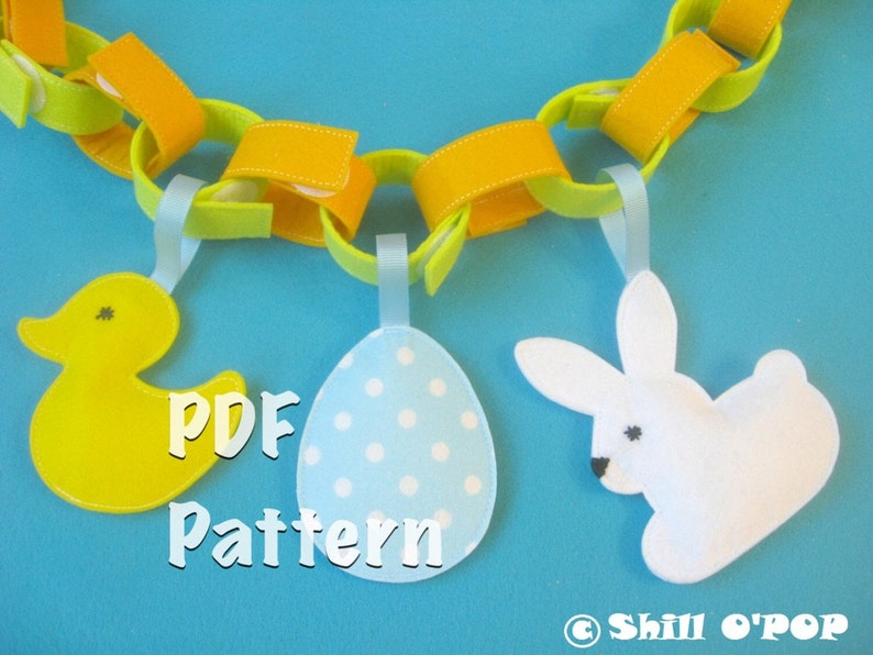 Easter Felt Decor PDF Pattern and Free Chains Garland Tutorial image 0