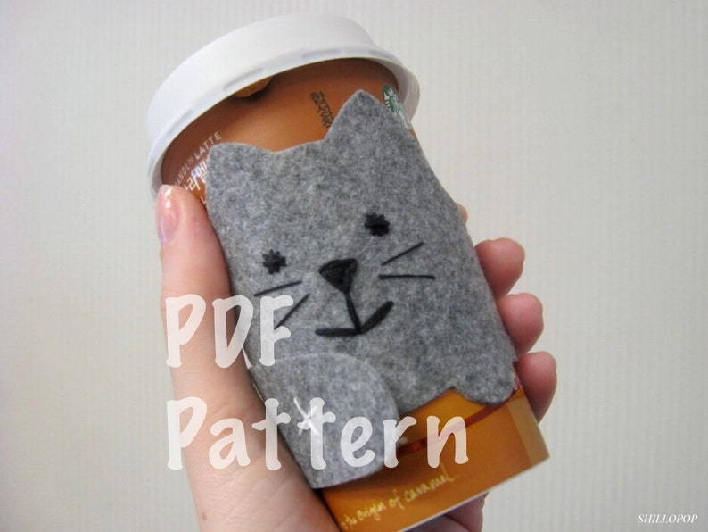 Cozy Felt Coffee Cup Sleeve The Cat How To and PDF Pattern image 0