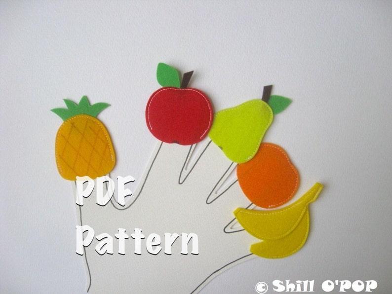 Fruits and Vegetables Finger Puppets Felt Toy PDF Pattern image 0