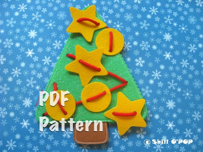 Lacing felt Christmas tree toy PDF Sewing Pattern image 0