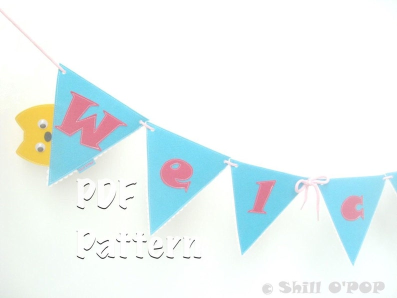 Welcome Banner Felt Garland PDF Pattern Back To School image 0