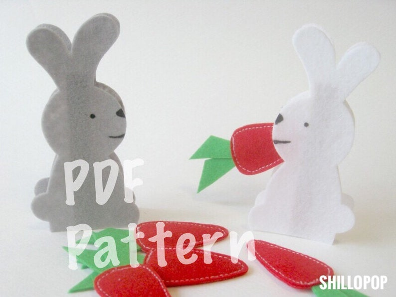 Feed The Hungry Bunny Clothespin Felt Game PDF Pattern and How image 0