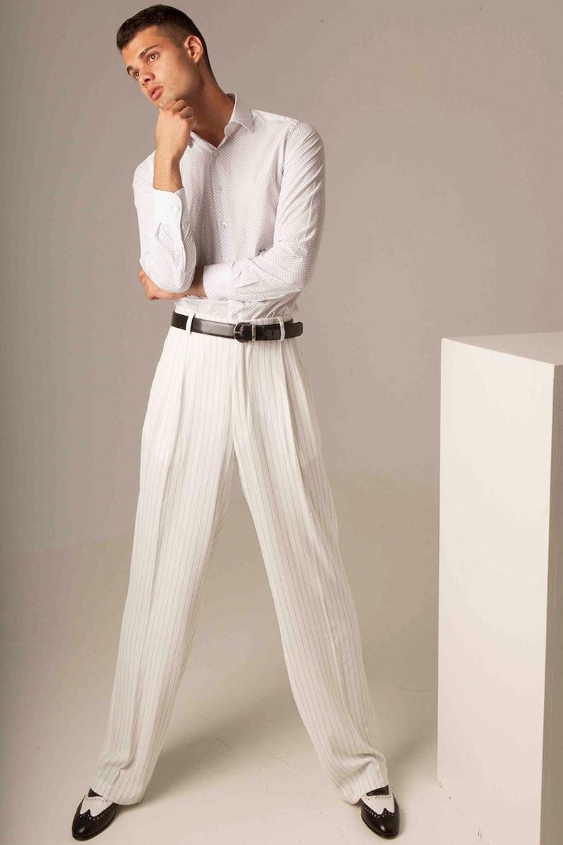 1930s Men's Clothing Men Argentine Tango pants Off white men classic pants Mens summer evening pants Mens salsa dance pants Mens occasion event pants $150.90 AT vintagedancer.com