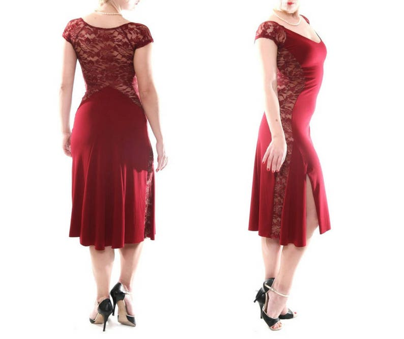 75cccdd273 Tango Dress with Lace Back Elegant Milonga Dress Argentine