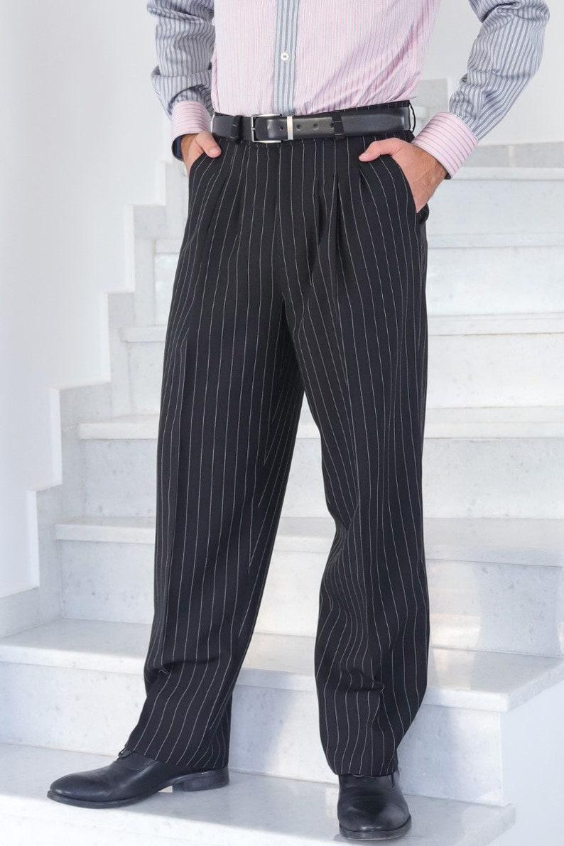 1950s Men's Pants, Trousers, Shorts | Rockabilly Jeans, Greaser Styles Men Argentine Tango pants Men latin dance pants Men formal office pants Men classic pleated pants Men black wide white striped pants $113.10 AT vintagedancer.com