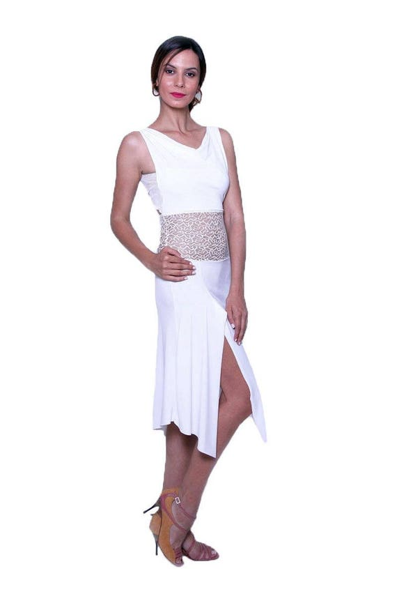 Clothes Sexy Tango Elegant Argentine Dress Tango with Waist Lace Dress Milonga White xPSqXHdX