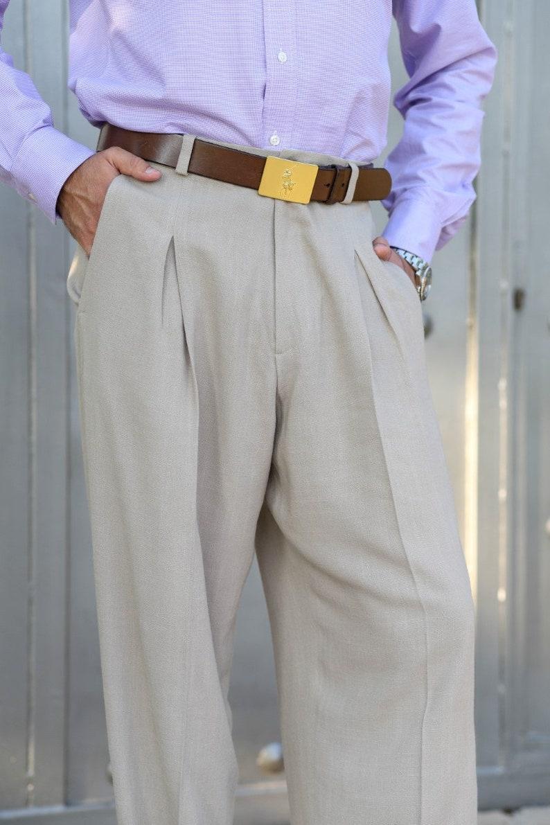 1930s Men's Clothing Men Argentine Tango pants Men linen pants Men latin trousers Mens dance wear Men beige pants Men wide pants Men salsa dance pants $150.17 AT vintagedancer.com