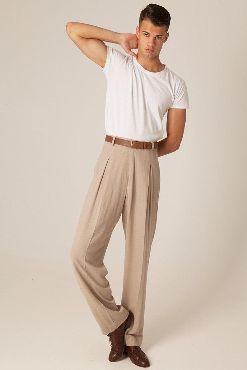 1930s Men's Fashion Guide- What Did Men Wear? Men Argentine Tango pants Mens summer evening pants Mens latin dance pants Mens modern event trousers Men comfortable loose pants $182.80 AT vintagedancer.com
