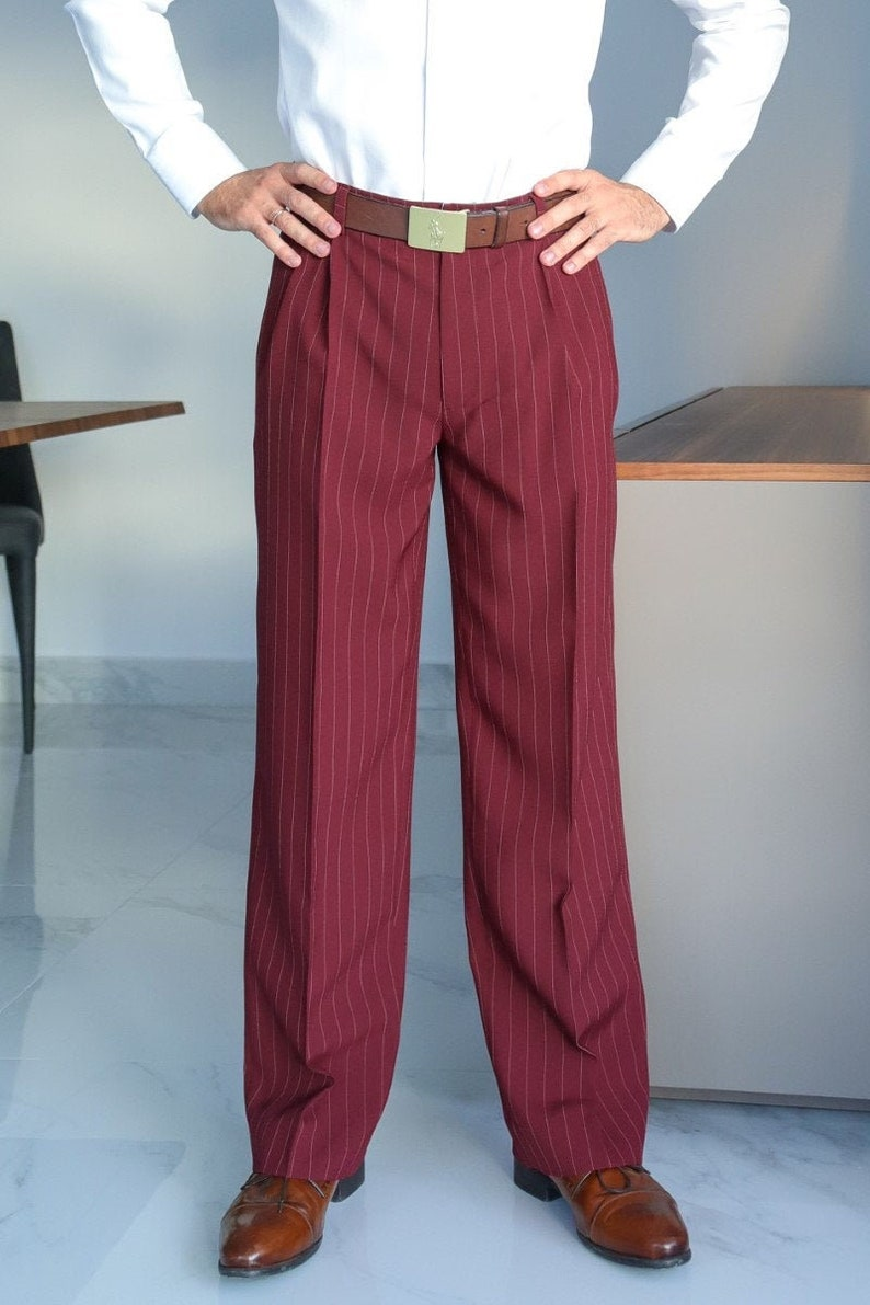 1950s Men's Pants, Trousers, Shorts | Rockabilly Jeans, Greaser Styles Men latin dance pants Men Argentine Tango pants Burgundy men formal pants Men striped loose leg pants Men bright pleated trousers $133.73 AT vintagedancer.com